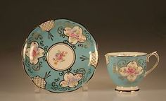Royal Albert Early Turquoise Floral Medallions CUP AND Saucer England C 1927 | eBay