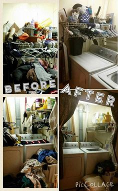 Before and after collage when Kimberly decluttered her laundry room as part of the #Declutter365 missions {featured on Home Storage Solutions 101}