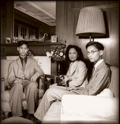 From left : His Majesty King Ananda Mahidol - Rama VIII. | H.R.H. the princess Mother |  and  His Majesty King Bhumipol Adulyadej (King  Rama IX)  of Thailand