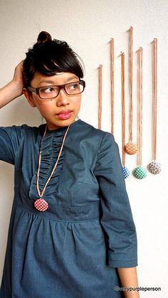 fabric button necklaces