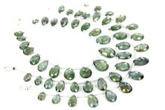 Moss Aquamarine Faceted Pear (Quality AA+) / 6x9 to 9x14 mm / 8 to 10 Grms / 18 cm / AQUA-007 by GemstoneWholesaler on Etsy