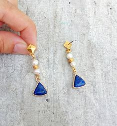 Navy Blue Earrings, Lapis Lazuli Byzantine Earrings, Drop Pearl Earrings For Maid Of Honor Gift #bohemiansummertales #lapisearrings #lapislazuli #byzantineearrings #weddingjewelry # Maid Of Honour Gifts, Maid Of Honor, Pearl Drop Earrings, Blue Earrings, Byzantine Jewelry, Lapis Lazuli, Wedding Jewelry, Jewelry Collection, Navy Blue