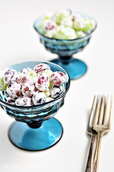 Grape Salad - This delicious and cool salad is perfect for summer! It is the perfect amount of sweet & cool on hot days! Absolutely great for potlucks!