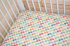 So awesome I can't even stand it: Fitted crib sheet with  bicycles by LittleNecessities #Etsy