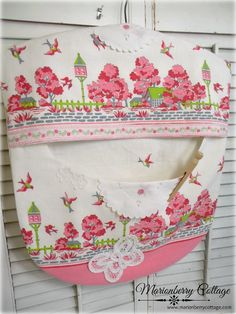 Pink garden birds and butterfiles Clothes pin bag Shabby retro chic