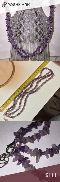 """Vint 17"""" Purple Amethyst GemStones Necklace Vint 17"""" Purple Amethyst GemStones Necklace. Gorgeous!!! Various colored purple Amethyst stones make up the very vintage double strand necklace. Throughout history Amethyst gemstones were worn for their healing power. Kings and Queens wore Amethysts, which were often prized more than diamonds. Amethysts were also thought to allow the wearer to see into the beyond. Great present for yourself or a special someone. Christmas, Birthday, or Thinking of…"""