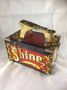 SHoe Shine Box, Painted Shoe Box, Wood Shoe Shine Box, 5 Cents Box, 1960's Shoe Shine Box, Red Shoe Shine Box, Vintage Shoe Shine Box by GloryDayz on Etsy