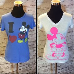 MICKEY MOUSE DUO TEES Pale gray and pink and blue with the classic colors. Both gently used.. Light gray is a medium and blue is a small..  Both fit like a small Mickey Mouse Tops Tees - Short Sleeve