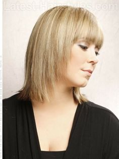 Sandy Style Blonde Medium Look with Fringe Side View