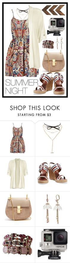 """Summer Night"" by stella-patricia ❤ liked on Polyvore featuring Charlotte Russe, WearAll, Tory Burch, Chloé, Betsey Johnson, Chanel, GoPro and WALL"