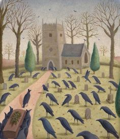 """Alison Jay When a crow is killed by a car or some other misfortune all the crows in that area gather at the body and are silent-they """"wake ' the dead crow."""