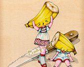 Banana Split- She Lost her Better Half-Fairy Tale Fruit Girl Twins-Pinkytoast Art Print-8x10