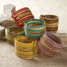 Beaded Wire Cuff Bracelet Assorted 6 Colors © Two's Company - available at The Fig Tree in Chicago