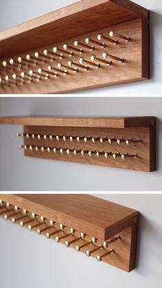 Cherry tie rack with brass pegs - Cherry tie rack with brass pegs and shelf best tie storage -