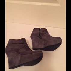 Andrea Bernes Italian Suede Wedge Booties Andrea Bernes Gray wedge boogie from Italy. These stacked heel wedges are made of soft sueded leather with 4.25 heel and round toe ankle bootie.  Excellent condition. Andrea Bernes Shoes Ankle Boots & Booties