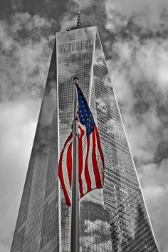 American Flag At World Trade Center Wtc Bw by Susan Candelario Pray For America, I Love America, God Bless America, American Flag Pictures, Patriotic Pictures, One World Trade Center, Trade Centre, The Freedom Tower, Nyc Girl