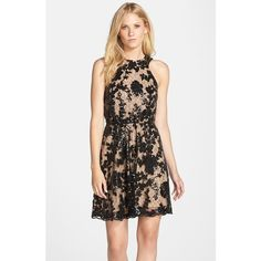 Dress the Population 'Hannah' Sequin Lace Fit & Flare Dress (60 KWD) ❤ liked on Polyvore