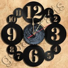 Wall Clock Vinyl Record Clock Upcycled Gift Idea por geoartcrafts