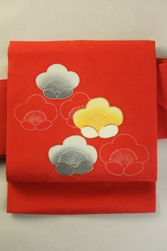 Scarlet Nagoya Obi, Dye and Embroideried Plum Pattern / 猩々緋色塩瀬地 染めと刺繍の梅花お太鼓柄 名古屋帯   #Kimono #Japan http://www.rakuten.co.jp/aiyama/