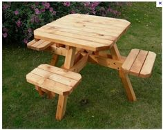 Picnic table with square seats