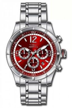 Invicta Specialty Classic Chronograph Red Dial Mens Watch 11373 Invicta. $64.99. Chronograph Function. Flame Fusion crystal. Swiss Quartz movement. Date Window. Water Resistant up to 100 Meters (330 Feet).