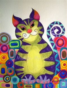 CAT IN THE GARDEN  contemporary Art Portrait by mundomundaca, $20.00