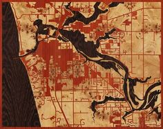 20x16 Woodcut Map of Grand Haven, Michigan