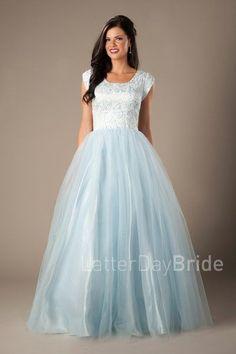 Modest prom dress blue, Cinderella style