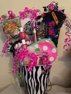 birthday basket 9 year old birthday gift basket 9 year old birthday gift basket 9 Year Old Girl Birthday, Birthday Gifts For Girls, Birthday Parties, Birthday Box, Birthday Ideas, Birthday Gift Baskets, Diy Gift Baskets, Christmas Gifts For Kids, Creative Gifts