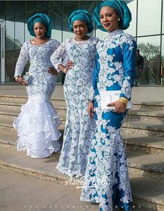 Step up your game with these eye-popping and uber-classy Aso-Ebi styles - Wedding Digest Naija Nigerian Lace Styles, African Lace Styles, African Lace Dresses, African Fashion Dresses, Nigerian Lace Dress, Ghanaian Fashion, African Style, African Attire, African Wear