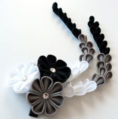 Kanzashi Fabric Flowers hair clip with falls. Black by JuLVa
