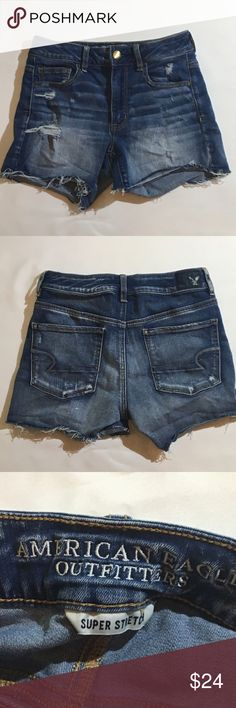 "American eagle outfitter highrise shortie shorts. American eagle outfitters high rise shortie distressed shorts. Size 6. Super stretch denim, fading and distressing cutoff style shorts. Body hugging for a flattering, sexy fit, but plenty of stretch for great movement. 5 pockets, zipper and button fly, belt loops. Waist is 14"" rise is 9"" inseam is 4"". 60% cotton, 20%  viscose, 12% modal 7% polyester, 1% elastane. EUC. American Eagle Outfitters Shorts Jean Shorts"