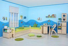 vymalování dětského pokoje Toddler Bed, Kids Rugs, Furniture, Lime, Turquoise, Home Decor, Green, Preschool Classroom, Kids Rooms