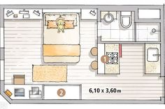 22 m² rented kitchenette for living and working , Mini Loft, Studio Apartment Layout, Apartment Design, Tiny Spaces, Small Apartments, Small House Plans, House Floor Plans, Apartment Floor Plans, Student House