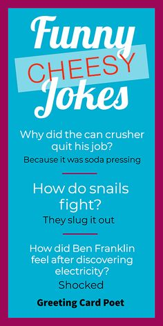 Cheesy Jokes: Laugh, chuckle and groan with this collection. Dad jokes at their best! Funny Cheesy Jokes, Funny Jokes And Riddles, Funny Jokes For Kids, Dad Jokes, Best Corny Jokes, Short Funny Jokes, Funny Quotes, Funny Memes, Hilarious Jokes