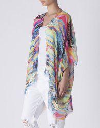 kimono estampado paisaje - Blanco