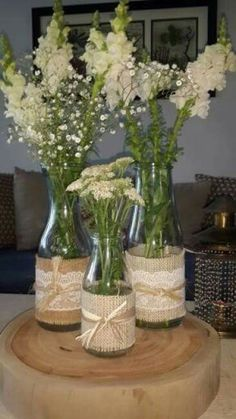 Burlap and lace flower jars Table Centerpieces, Wedding Centerpieces, Wedding Table, Rustic Wedding, Wedding Decorations, Table Decorations, Wedding Ideas, Wine Bottle Crafts, Jar Crafts