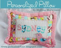 Moda Bake Shop: Personalized Birdie Pillow, something along these lines for each of the girls to match their quilts would be so cute. Cute Pillows, Baby Pillows, Throw Pillows, Sewing For Kids, Baby Sewing, Baby Receiving Blankets, Polka Dot Chair, Cute Presents, Pillow Tutorial