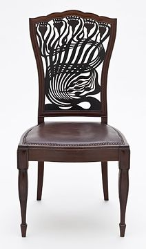 Arthur Heygate Mackmurdo (1851–1942), for the Century Guild, Chair, ca. 1882, mahogany, leather, painted decoration. Photo: The Huntington Library, Art Collections, and Botanical Gardens and the Los Angeles County Museum of Art.  Via The Photo Garden Bee (http://thephotogardenbee.com/2010/01/27/art-nouveau-and-flower-fans-rejoice-this-floral-backed-key-precursor-of-the-art-nouveau-movement-is-coming-to-the-huntington/).