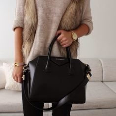 Luxe look with a black Givenchy bag and fur