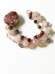 Raspberry Druzy Beaded Bracelet Multi Strand by JulemiJewelry