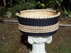 Beautiful Double Wall Large Navy Blue Basket with Wooden Bottom and Ceramic Handles Handmade Hand Woven -FREE SHIPPING-. $89.00, via Etsy.