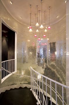 Small Mirrored Appliqued to Wall of Stairwell : Entrances, Hallways Stairs - eclectic - staircase - new york - ANN SACKS Mirror Mosaic, Mirror Tiles, Mosaic Glass, Mosaic Tiles, Mirror Mirror, Mosaics, Mirror Bathroom, Backsplash Tile, Design Bathroom