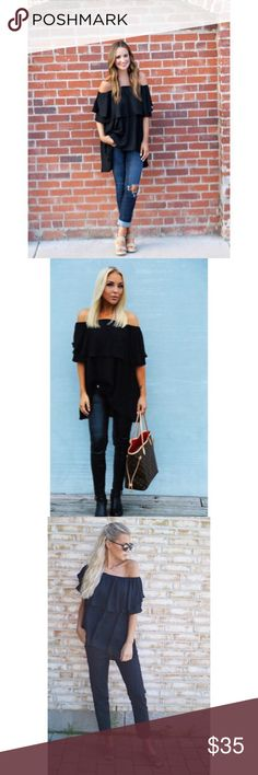 """✨Black Off The Shoulder Dip Hem Blouse✨ ✨Size Available:M Type:High Low, Layered/Tiered Fabric:Fabric has no stretch Season:Summer Pattern Type:Plain Sleeve Length:Half Sleeve Color:Black Material:Chiffon Style:Vacation, Cute, Sexy Collar:Off the Shoulder Decoration:Ruffle Bust(Cm):M:122cm Length(Cm):M:79.5cm Height:172cm/5'8"""" Bust:82cm/32"""" Waist:59cm/23"""" Hip:87cm/34"""" Wear:S✨ Tops Blouses"""