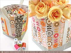 FreeSpirit-Rowan 10&10 Series: Fabric Box-Baskets in Jenean Morrison/In My Room | Sew4Home    (DIY, tutorial, includes pdf of tutorial, you can use basket as gift bag or even to put edible stuff in like muffins, lots of sewing involved)