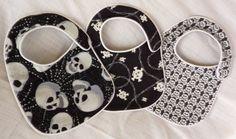 Punk Rock Baby Bibs - Back in Black Skulls - set of 3 bibs $15.00. gift idea for @moxiethrift on etsy Foley