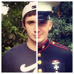 Civilian to Marine. Makes me wanna make a picture like this for my sailor! :)