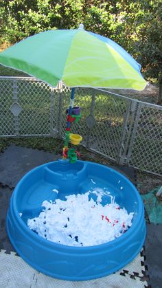 kiddie pool filled with shaving cream and food coloring on top to be mixed for messy messy fun!