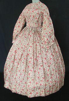 Lovely Hand Sewn Original Civil War Era Floral Silk Dress C 1860'S | eBay