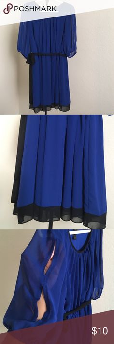 "Women's Enfocus dress 18W Vibrant blue with black neck trim and sheer black at hem. Fully lined with sheer 3/4 sleeve. Open slits on sleeve with elastic end. Black tie belt.  100% polyester. Waist to hem: 18"" Enfocus Dresses"